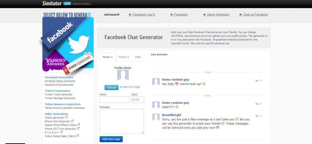 simitator.com - Creatse Fake Facebook chat conversation