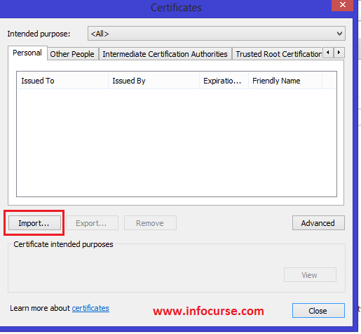 Import Certificates option in Google Chrome