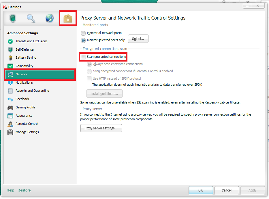 Fix SSL Connection error - Kaspersky Antivirus