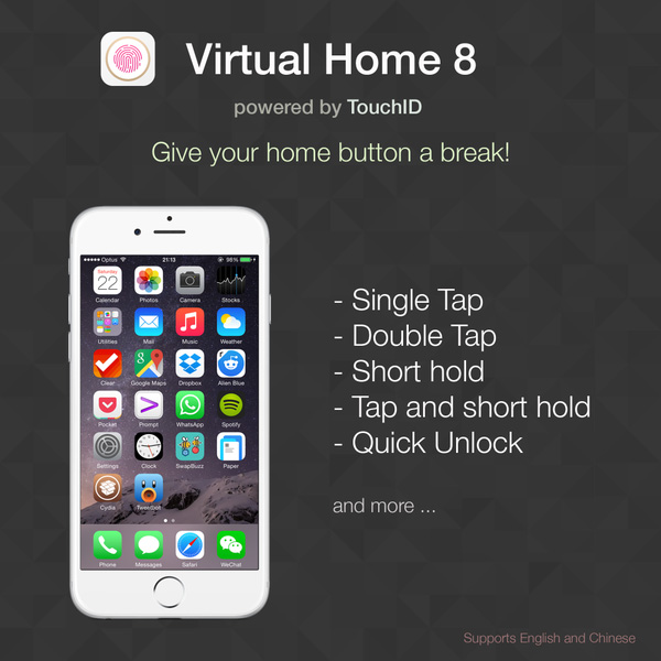 Use Touch ID as Home Button - Virtual home