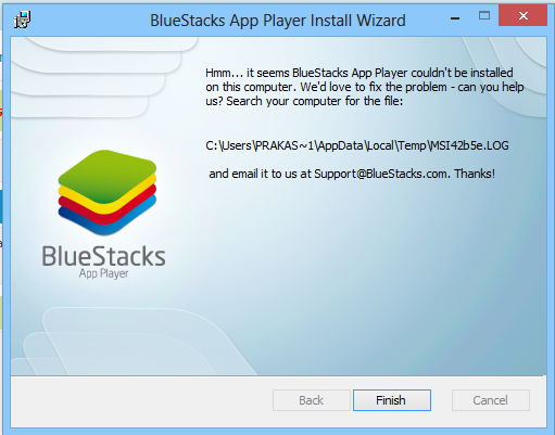 Bluestacks Installation Failed MSI Log File Error