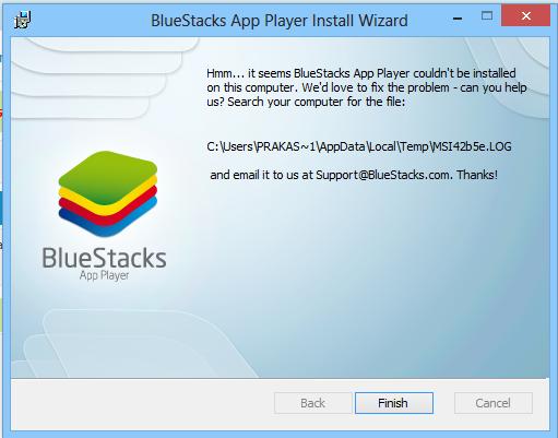 Bluestacks Installation Failed MSI Log File Error